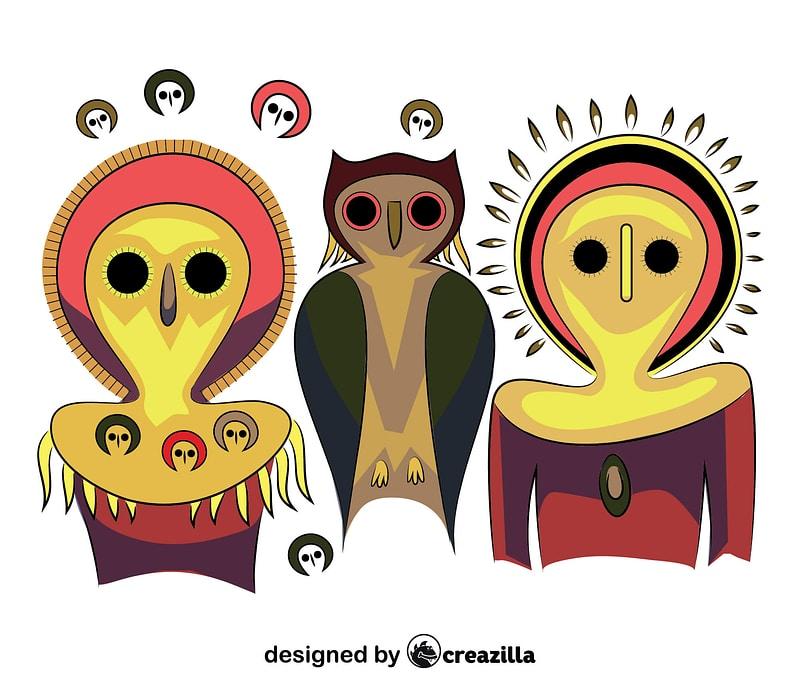 Aboriginal Art Owls vector