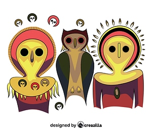 Aboriginal Art Owls vector