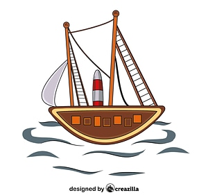 Aboriginal Art Painting Sailing Ship vector