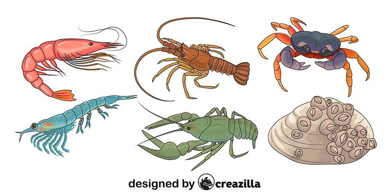Set of Crustacean Animals vector