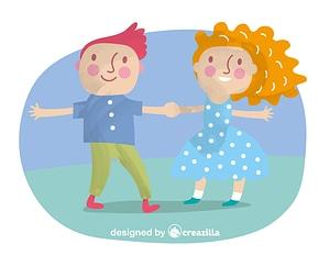 Kids holding hands vector