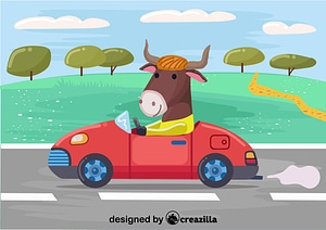 Bull with the car vector