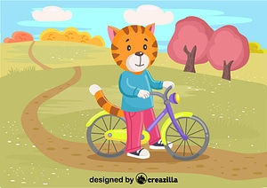 Vector de Cat with the bike