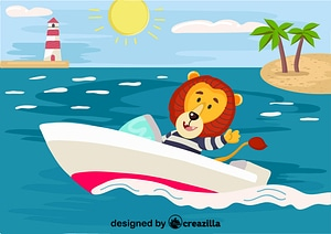 Vector de Lion wih the boat