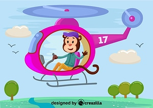 Vector de Monkey with helicopter