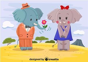 Elephants in love vector