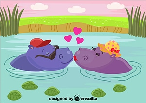 Hippos in love vector