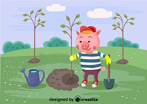 Pig plant the tree vector