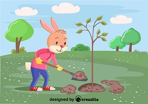 Rabbit plant the tree vector