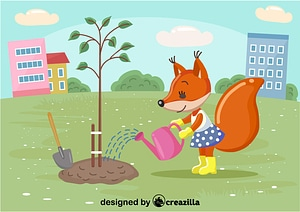 Squirell plant the tree vector