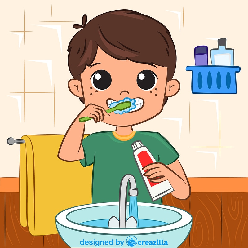 Child brushes his teeth vector