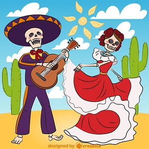 Dia de los muertos with sugar skull playing guitar and sugar skull woman dancing vector