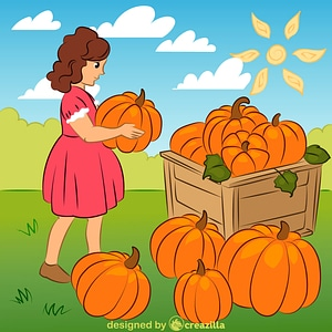 Harvest with pumpkins vector