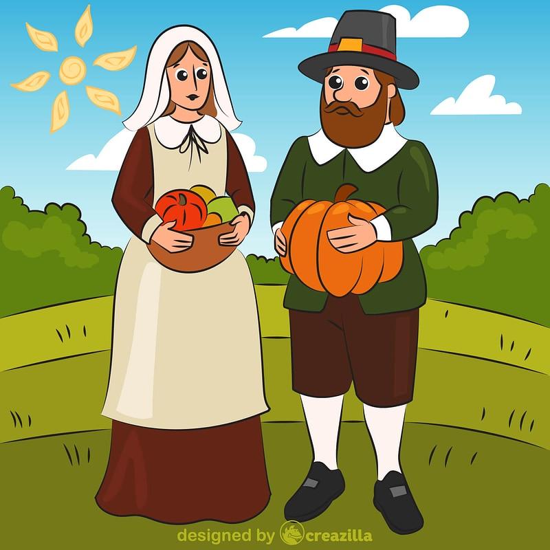 Pilgrim couple vector