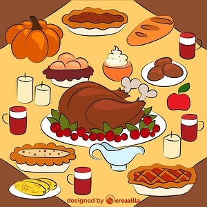 Thanksgiving dinner with turkey dish vector