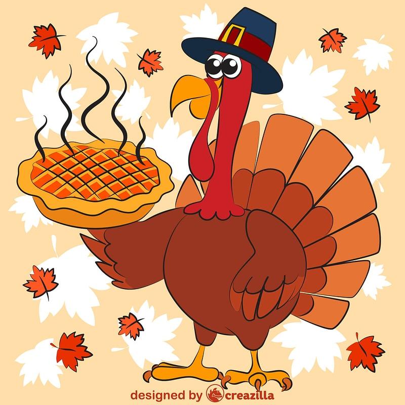 Thanksgiving turkey in pilgrim hat serving hot pumpkin pie vector