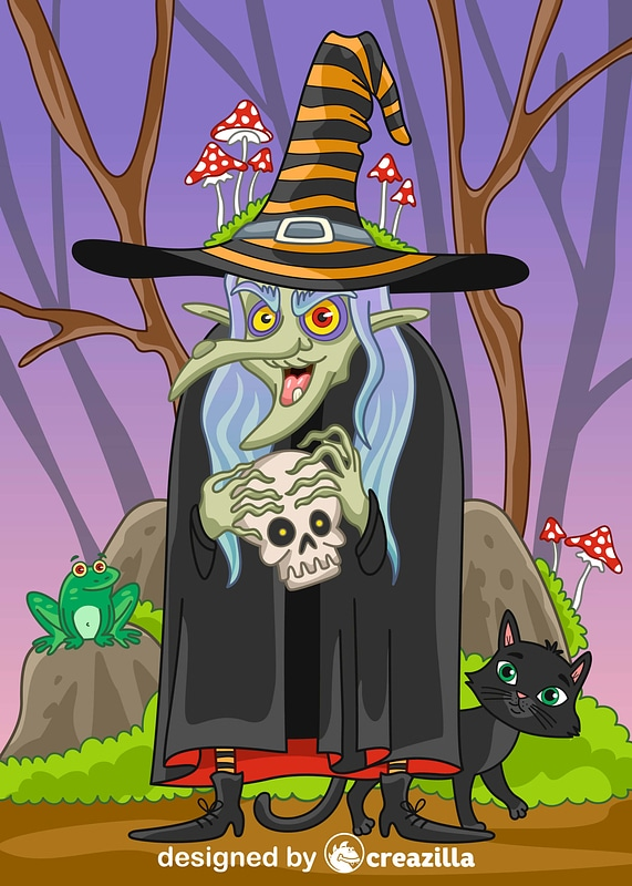 Old witch vector