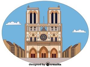 Cathédrale Notre Dame de Paris vektori