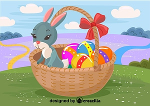 Bunny in the Easter basket vector