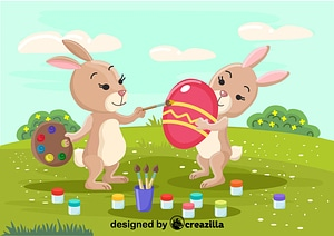 Rabbits painting eggs vector