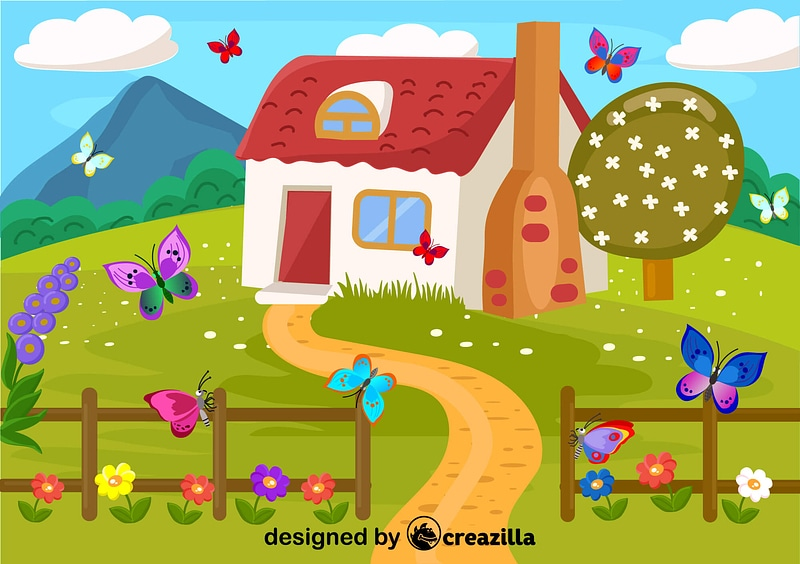 Country house and Easter butterflies vector