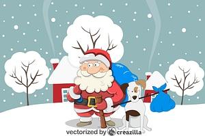 Christmas Santa with a Dog vector