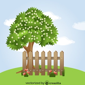 Tree behind the Fence vector
