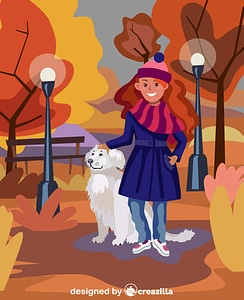 Girl with a dog vector