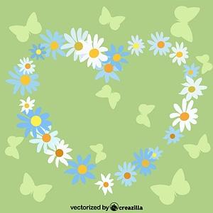 Floral Flower Frame Heart vector