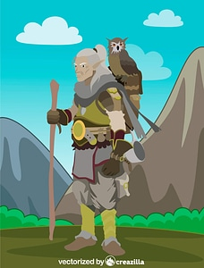 Fantasy Old Elf with an Owl vector
