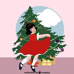 Girl and Christmas tree vector