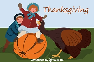 Vintage Thanksgiving Postcard vector