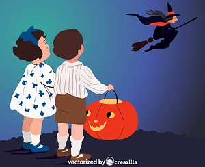 Halloween Witch and Children with Pumpkin vector