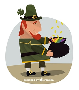 Leprechaun and pot of gold vector