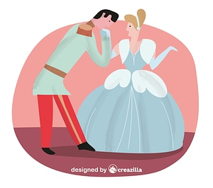 Prince kissing Cinderella vector