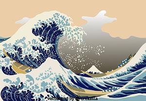 The Great Wave off Kanagawa by Katsushika Hokusai vector