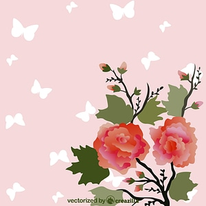 Immagine vettoriale di Vintage Background with Japan Flower