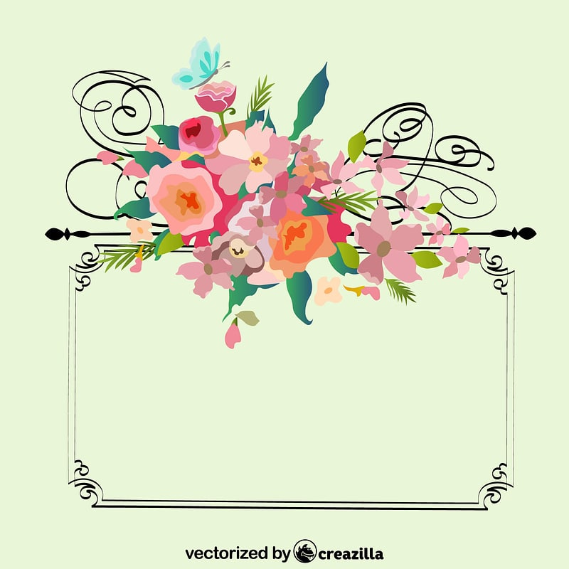 Frame with Flowers Vintage vector