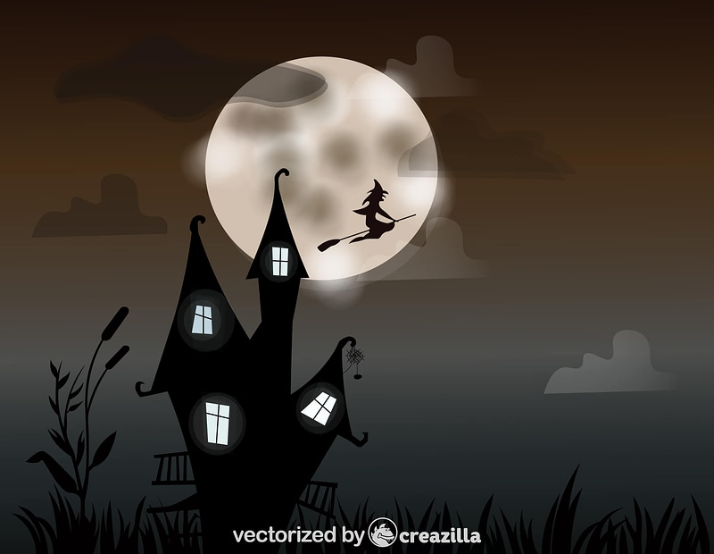 Haunted House and the Witch vector