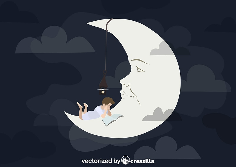 Boy reading on the Moon vector