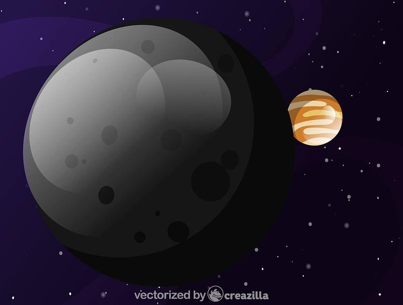 Moon and Jupiter vector