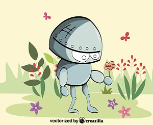 Robot with a Flower vector
