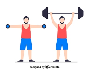 Barbell and dumbbell workout vector