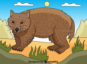 Wombat ベクターイメージ狐