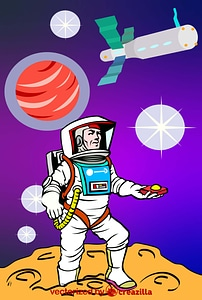 Astronaut in Space Poster vector