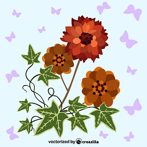 Red flower and Ivy vector