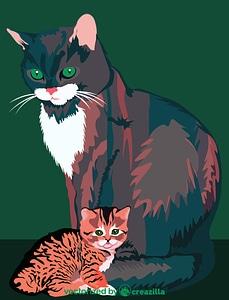 Mother Cat with Kitten vector