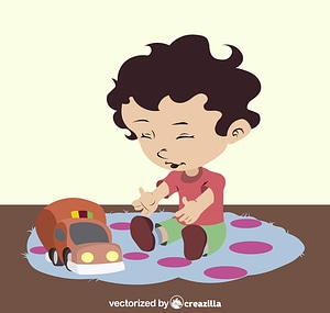 Child playing with a toy car vector