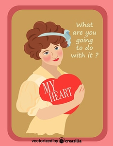 Valentine Vintage Card - Girl with Love Heart Box vector