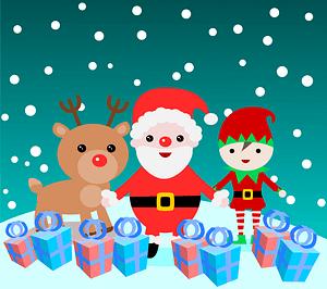 Santa, reindeer and Christmas elf vector